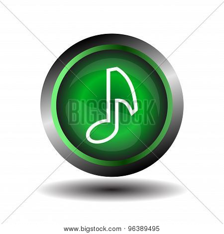 Note button. Music note sign icon. Musical symbol.
