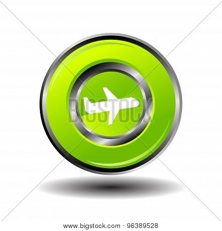 Plane icon button vector green glossy