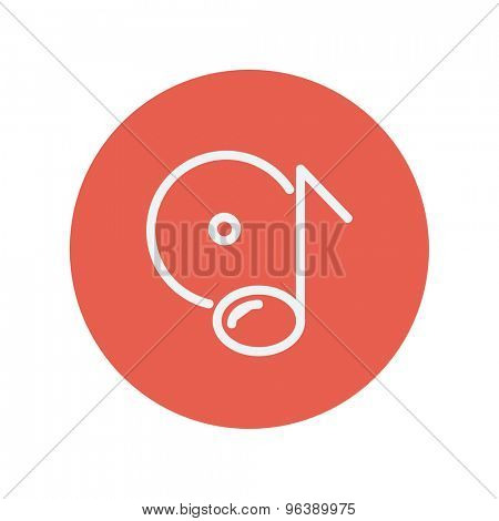 Note with phonograph record thin line icon for web and mobile minimalistic flat design. Vector white icon inside the red circle