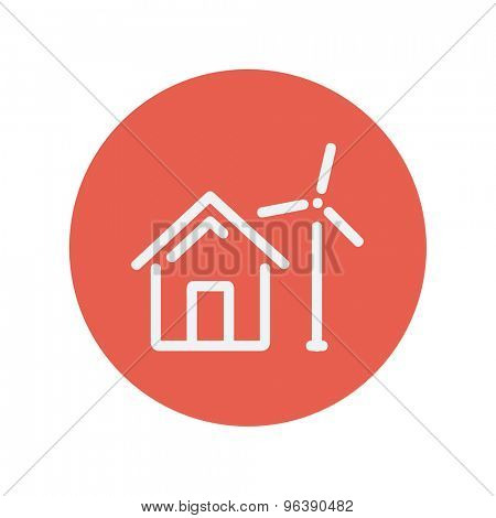 House with windmill thin line icon for web and mobile minimalistic flat design. Vector white icon inside the red circle