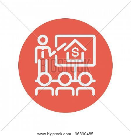 Real Estate agent seminar on how to earn money thin line icon for web and mobile minimalistic flat design. Vector white icon inside the red circle