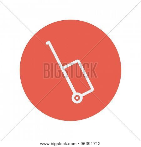 Luggage carrier thin line icon for web and mobile minimalistic flat design. Vector white icon inside the red circle. poster