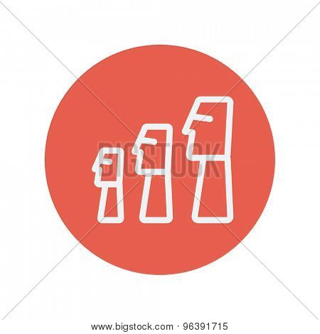 Three wooden statue thin line icon for web and mobile minimalistic flat design. Vector white icon inside the red circle.