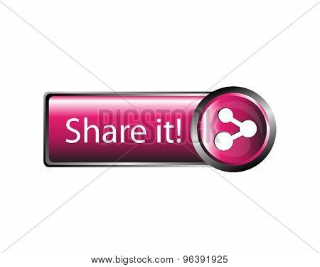 Share icon icon. Share Icon button pink lossy vector poster