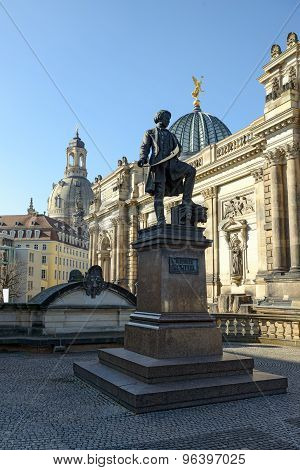 View Of Semper Monument From Bruhl's Terrace In Dresden, Germany.