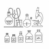 chemical glassware icons set. The test tube, beaker, flask, stand, burner and microscope poster