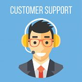 Happy customer support manager with headphones. Blue background. Flat design concept vector illustration poster