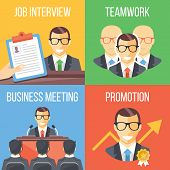 Job interview, teamwork, business meeting, promotion concepts. Set of four trendy flat illustrations. Flat design concepts for web banners, web sites, printed materials. Creative vector illustrations poster