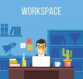 Man at work. Man in suit in office room. Creative flat design interior, workplace, workspace concepts. Office worker, freelancer, developer in his room concepts. Trendy vector illustration poster