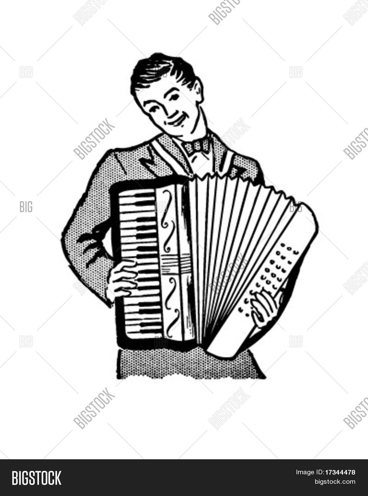 Accordion Player Retro Clip Art Vector Amp Photo Bigstock