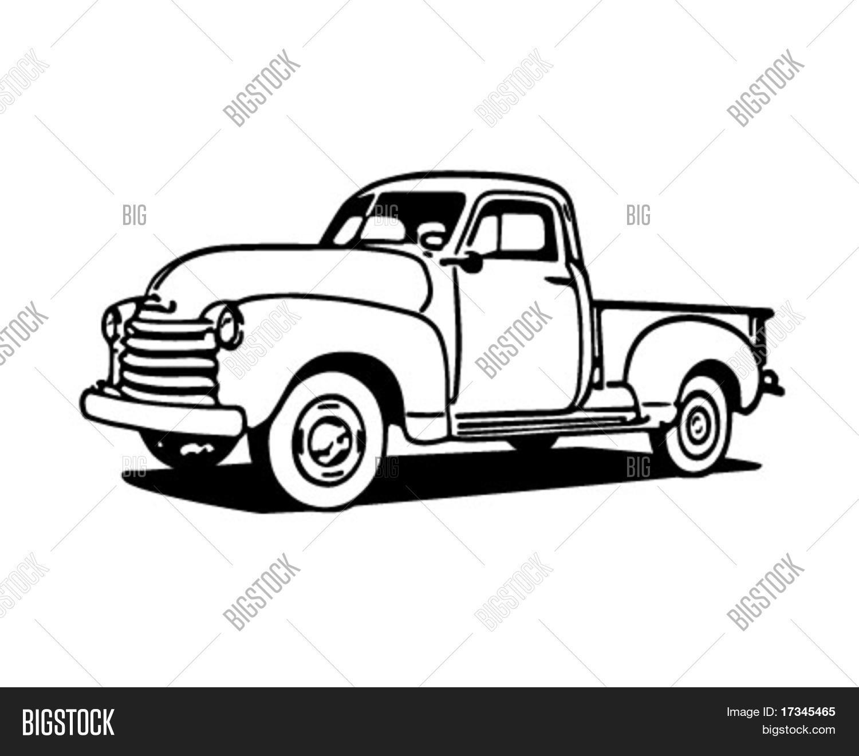 pickup truck retro clip art vector photo bigstock rh bigstockphoto com
