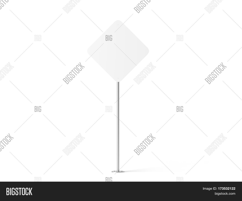 Blank white rhombus shape street image photo bigstock blank white rhombus shape street sign mockup 3d rendering clear rhomb signage design mock up buycottarizona Gallery