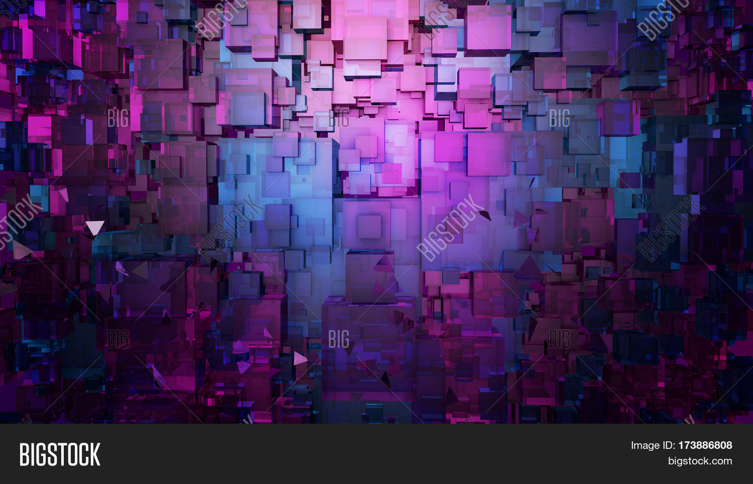 Abstract Digitalpink And Blue Architecture Background Computer Science Information Technology 3D Illustration