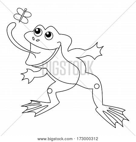 Vector black and white cute, funny frog with butterfly