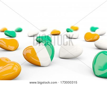 Heart With Flag Of Cote D Ivoire Isolated On White