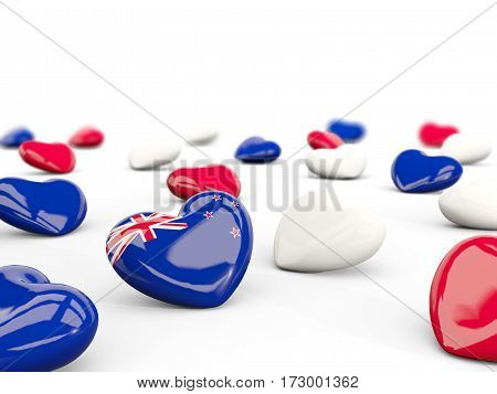 Heart With Flag Of New Zealand Isolated On White