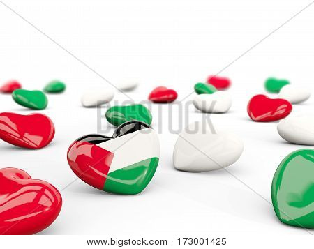 Heart With Flag Of Palestinian Territory Isolated On White