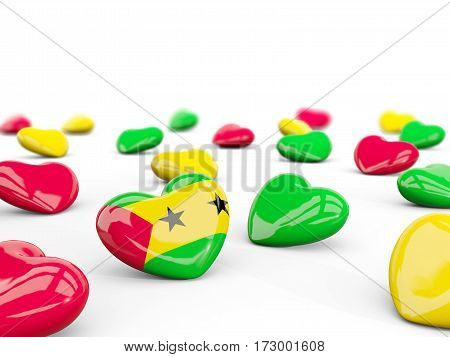Heart With Flag Of Sao Tome And Principe Isolated On White