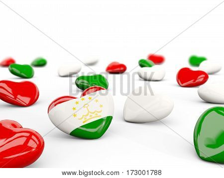 Heart With Flag Of Tajikistan Isolated On White