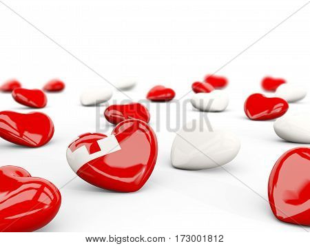 Heart With Flag Of Tonga Isolated On White