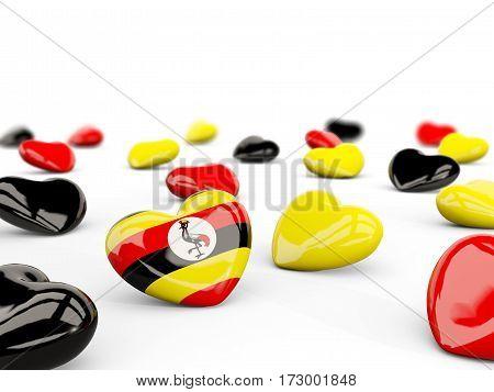 Heart With Flag Of Uganda Isolated On White
