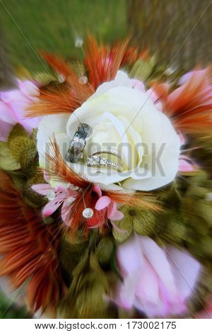 Retro Wedding ring bridal bouquet photo with autumn colors