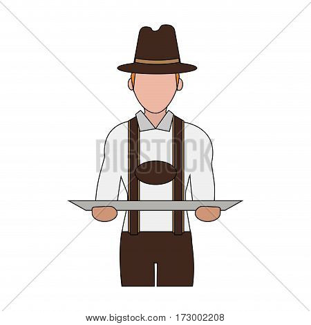 man in traditional bavarian costume german culture icon image vector illustration design