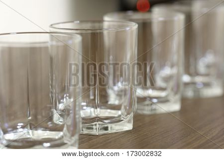 Row of glasses close up