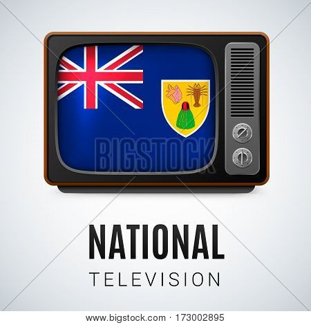 Vintage TV and Flag of Turks and Caicos Islands as Symbol National Television. Tele Receiver with flag design