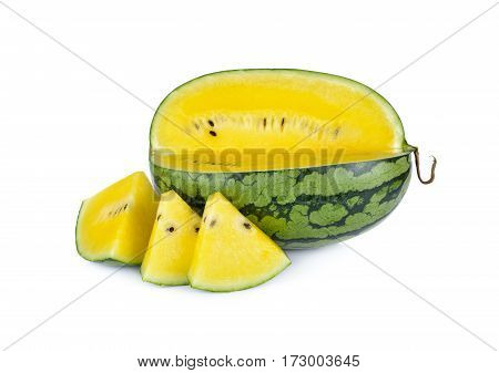 portion cut yellow watermelon on white background