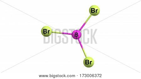 Boron tribromide or BBr3 is a colorless fuming liquid compound containing boron and bromine. It is decomposed by water and alcohols. 3d illustration