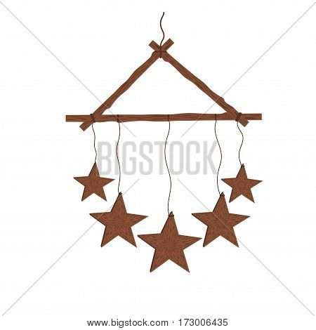 Hanging a star made out of wood on a white background.