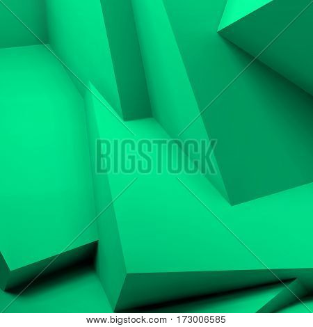 Abstract geometric background with realistic overlapping turquoise cubes