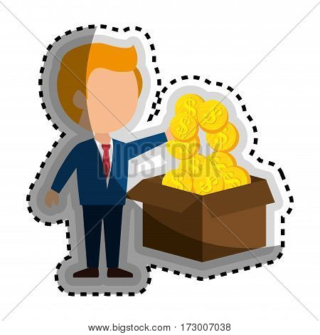 businessman with coins money isolated icon vector illustration design