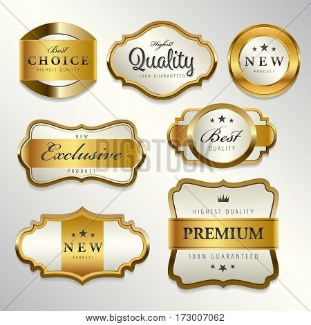 Luxury premium pearl white and golden labels collectionvector illustration