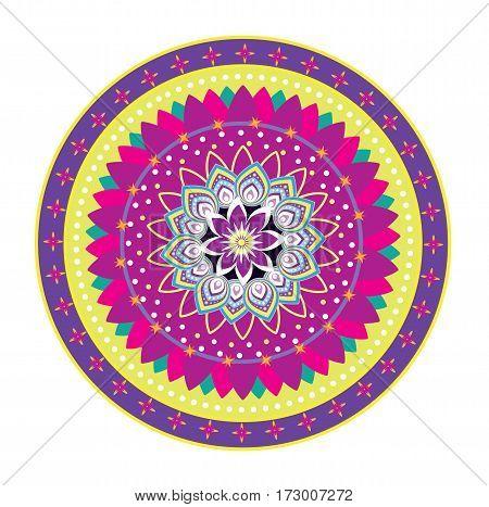 Round circle icon with flower pattern mandala style