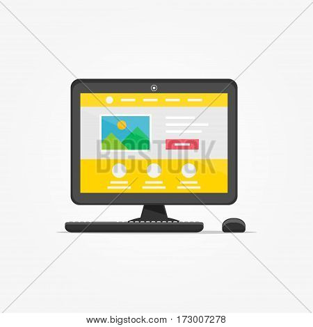 Landing page desktop vector illustration. Responsive adaptive web design technology creative concept. Friendly user interface landing page graphic design.