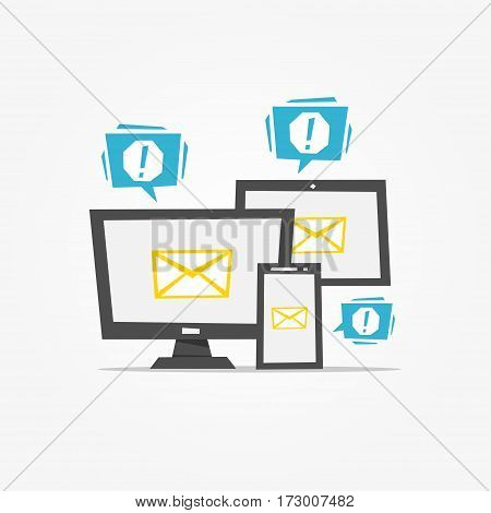 Mail notification on different devices vector illustration. Mail notice app creative concept.