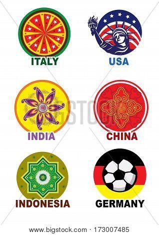 World country travel landmark icon label set