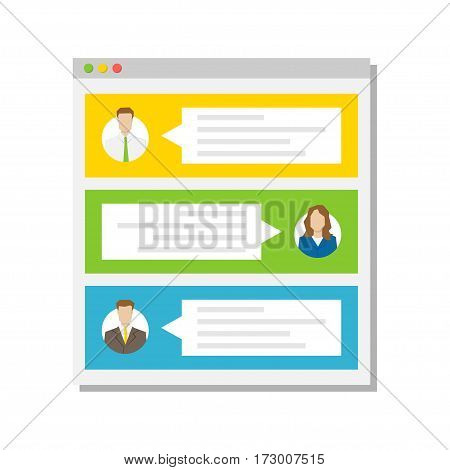 Web page with users commentaries comments testimonials vector illustration. Web page with textboxes creative concept.