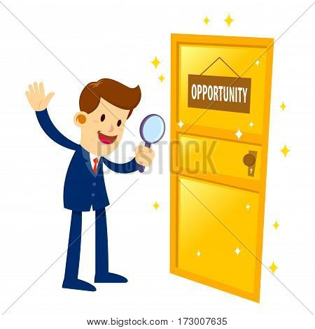 Vector stock of a businessman holding magnifier glass and found a golden opportunity door