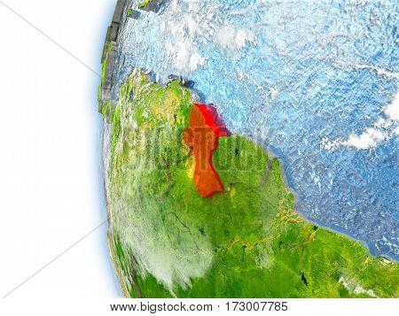 Guyana On Model Of Earth
