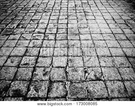 Outdoor street floor tile background seamless and texture Black and white