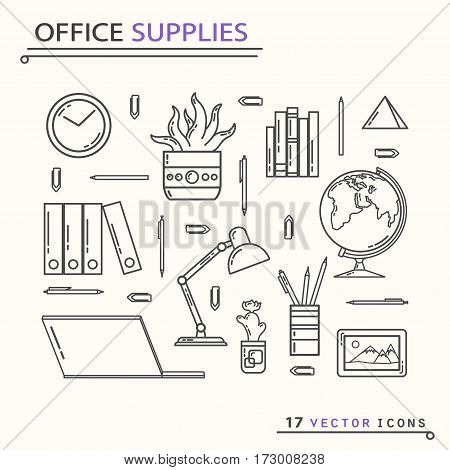 Office supplies icons. isolated objects EPS 10