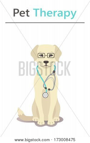 Pet therapy series. Vector illustration - Dr. dog. EPS 10 Isolated objects