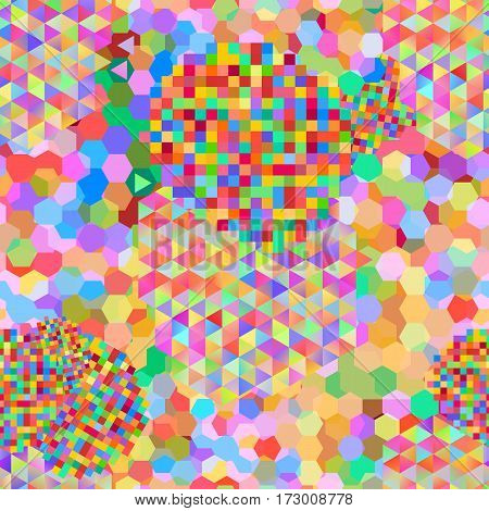 Seamless pattern with rainbow colored glitch styled bright shapes