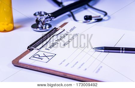 Doctors prescription for patient closeup. Healthcare medical RX prescription at doctor office. Diagnostic prevention of women diseases healthcare medical service consultation or education healthy lifestyle concept.
