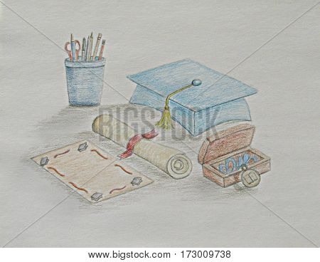Graduation cap with diploma and supplies education sketching