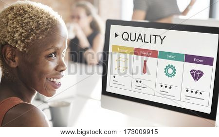 Quality evaluation ratings star graphic