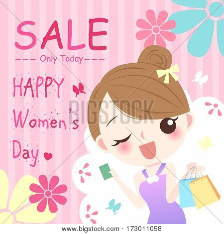 cute cartoon girl with happy womens day